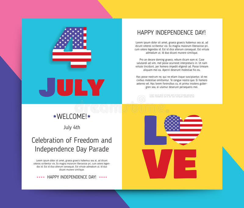 Love USA, America. Happy Independence Day stock illustration