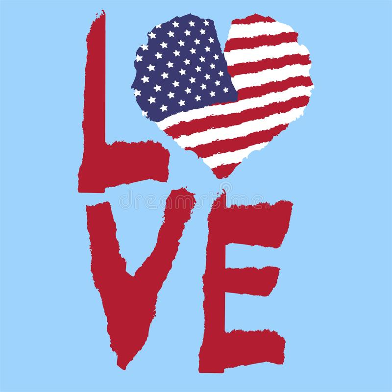 Free Love USA, America. Vintage National Flag In Silhouette Of Heart Torn Paper Grunge Texture Style. Independence Day Background. Good Royalty Free Stock Image - 117708266