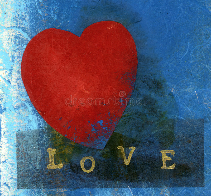 Love Valentine. Red heart with LOVE spelled out. Mix media collage. Many textures and tonal qualities in this image