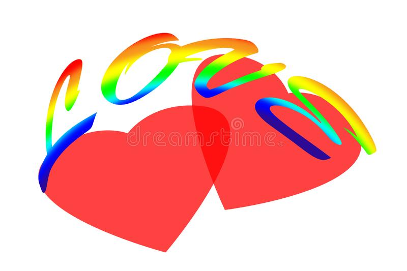 Love. Valentine card, illustration with a rainbow word and two pink hearts on a white background. For holiday greetings. stock illustration
