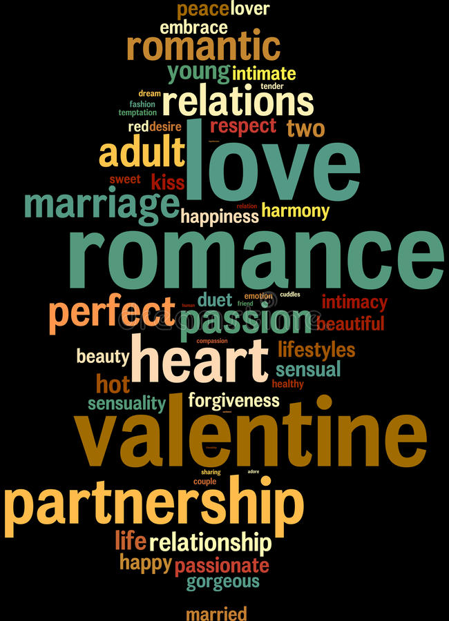 Love valentine info-text word clouds. Respect, love, romance info-text graphics and arrangement concept on black background (word cloud vector illustration