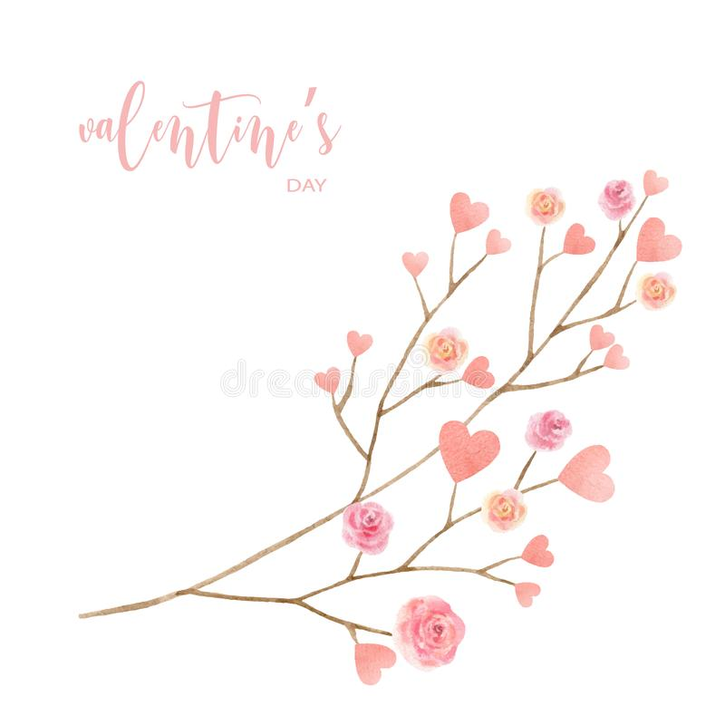 Love Valentine`s day watercolor vector illustration. royalty free illustration