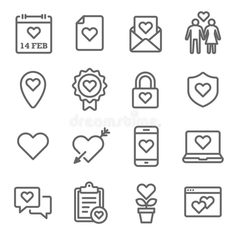 Love Valentine Vector Line Icon Set. Contains such Icons as Love Letter, Couple, Calendar and more. Expanded Stroke. Love Valentine Vector Line Icon Set stock illustration