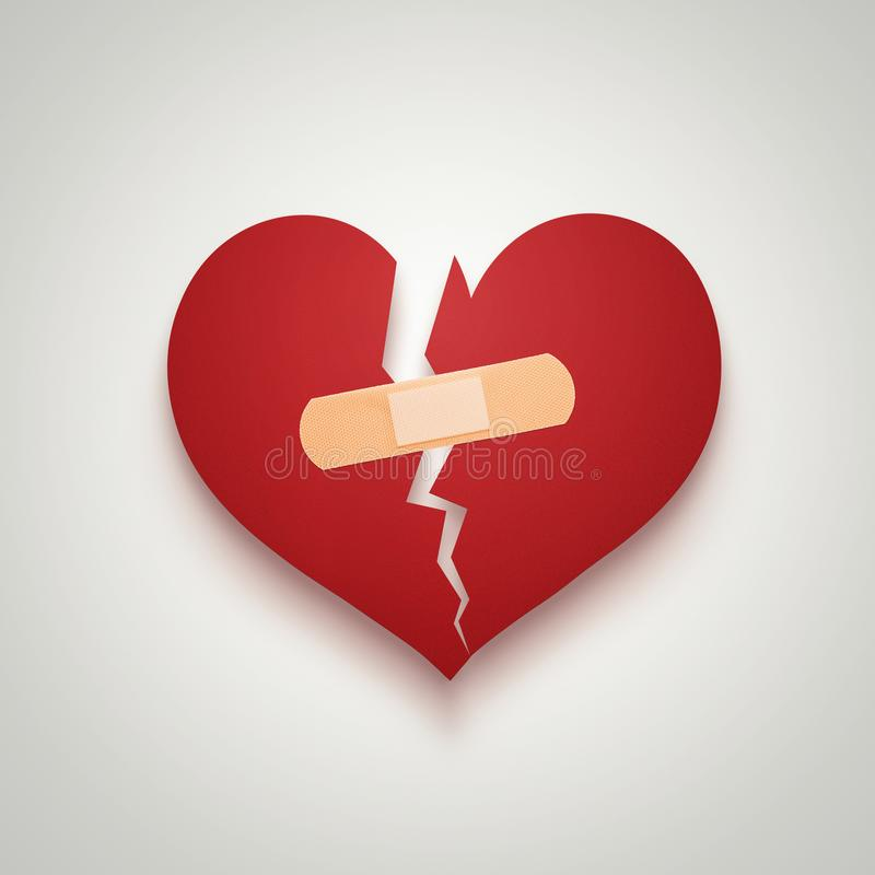 Broken paper heart merged with plaster bandage stock image