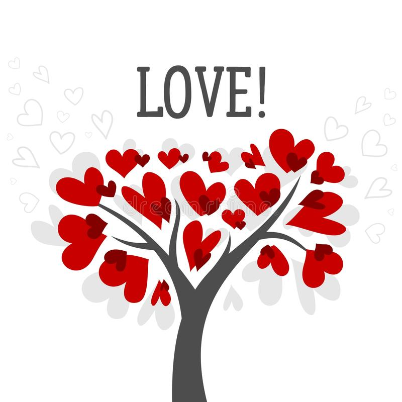 Love and Valentines day card with love tree and red heart vector background poster royalty free stock images