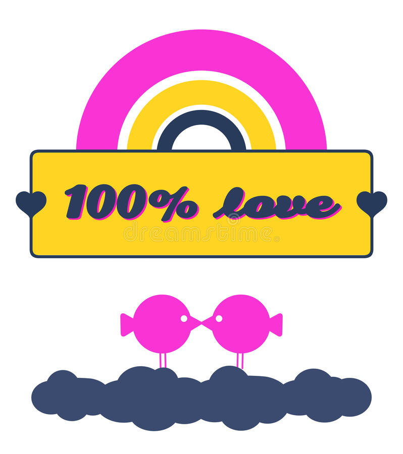 Download 100% Love stock vector. Illustration of magenta, kissing - 36943996
