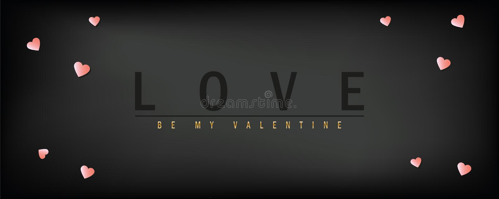 Love valentines day dark greeting card with typography and heart vector illustration