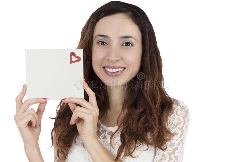 Love and valentines day woman showing a blank sign card stock images