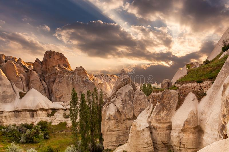 Love valley in Goreme village, Stone houses in Goreme, Cappadocia. royalty free stock images