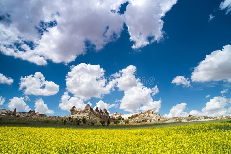 Love valley in Goreme village, Turkey. Rural Cappadocia landscape. Stone houses in Goreme, Cappadocia. Countryside royalty free stock image