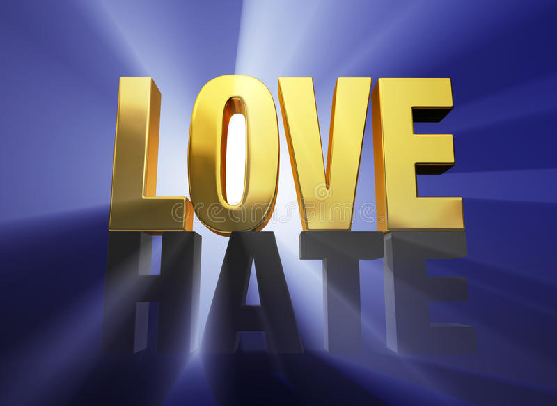 Love Vanquishes Hate. A bright, gold LOVE sits atop a dark gray HATE brilliantly backlit on a deep blue background stock illustration
