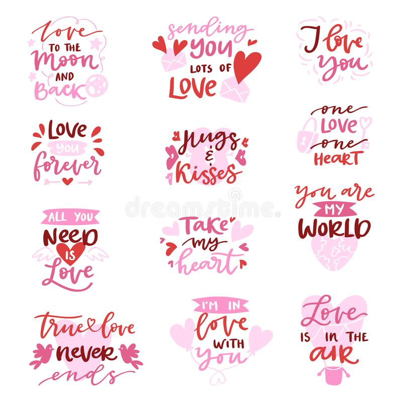 Love vector lovely calligraphy lovable lettering iloveyou quote with heart sign for lover on Valentines day beloved card. Hand drawn lettering set with romantic stock illustration