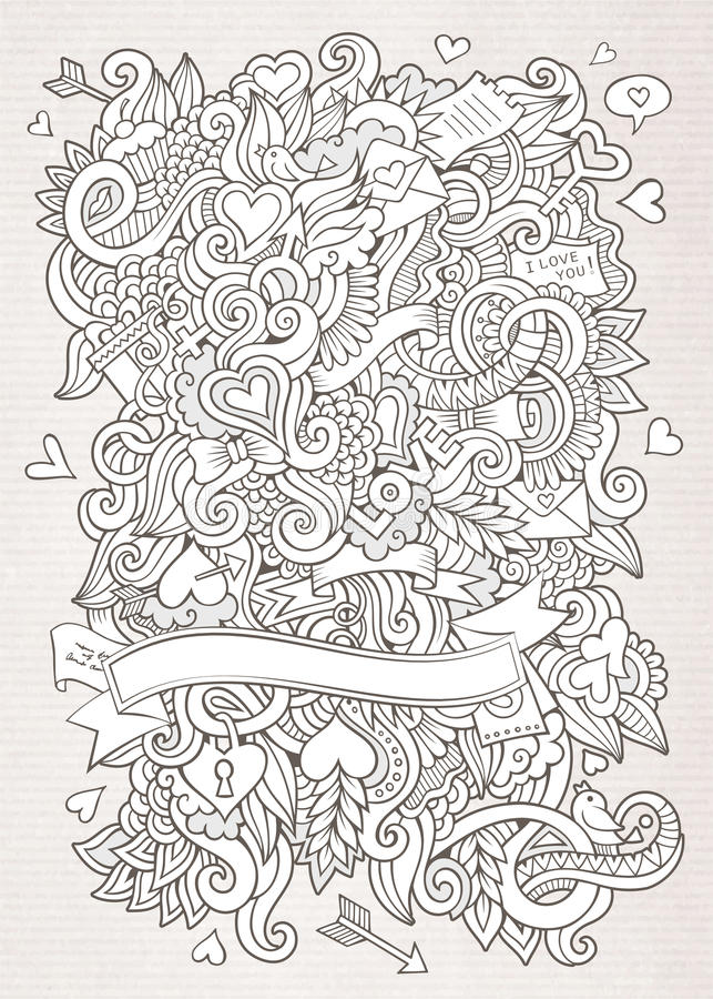 Love vector sketch background. Doodles abstract decorative Love vector sketch background royalty free illustration