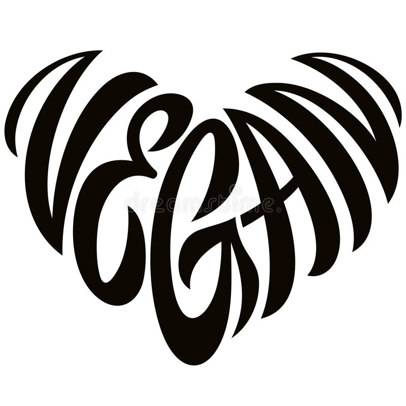 Love Vegan Word Lettering In The Shape Of Heart Emblem royalty free stock photography