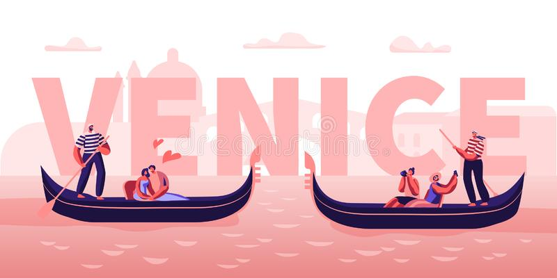 Love in Venice Concept. Happy Couples in Gondolas with Gondoliers Floating at Canal, Hugging, Making Photo. Romantic Tour. In Italy Poster, Banner, Flyer vector illustration