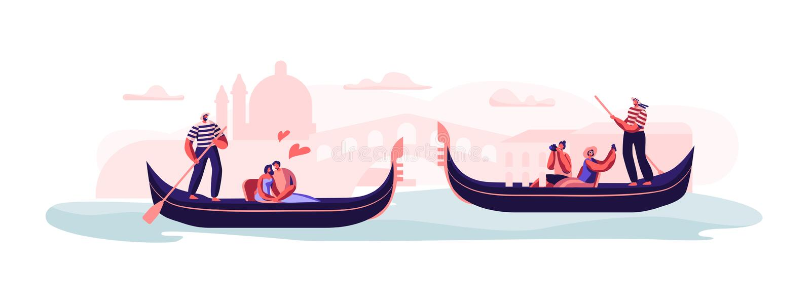 Love in Venice. Happy Loving Couples Sitting in Gondolas with Gondoliers Floating at Canal, Hugging, Making Photo of Sightseeing. Taking Trip or Romantic Tour royalty free illustration