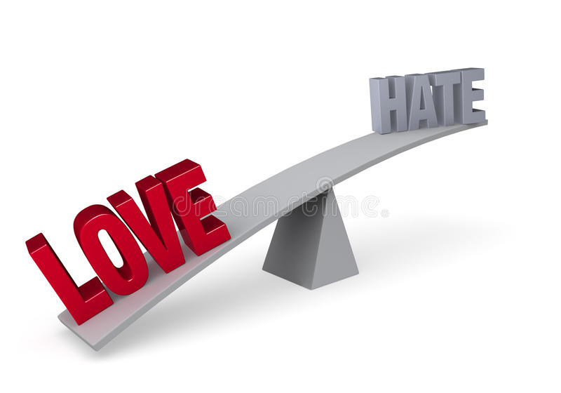 Love Versus Hate (Love Wins). A red LOVE weighs down one end of a gray balance beam, while a gray HATE sits high in the air on the other end. on white stock illustration