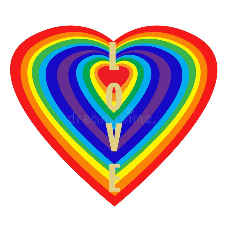 Love. Vertical word of gold letters on a rainbow heart isolated on a white background. Valentine card, illustration. stock illustration