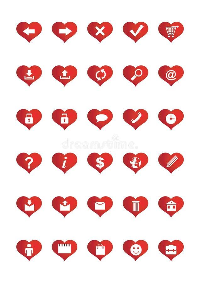 Love Web Icons set 1 vector illustration
