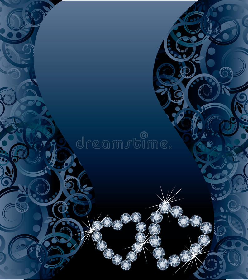 Love wedding card with two diamond hearts. Vector illustration royalty free illustration