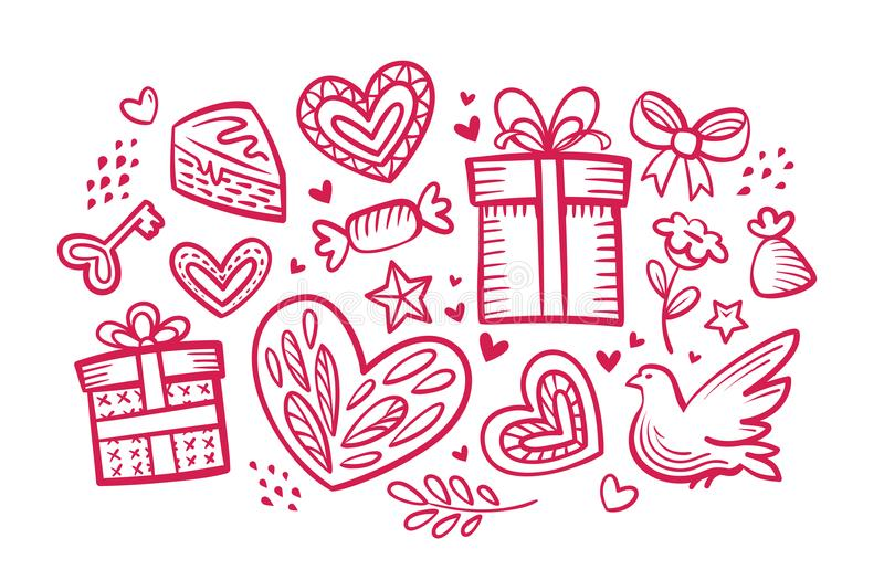 Love, wedding concept. Set of decorative elements. Sketch vector illustration royalty free illustration
