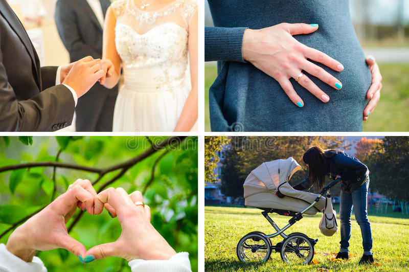 Love, wedding, pregnancy. Photo collage of four great photos. The main idea of this picture is to show the time that begins with love, than wedding, than royalty free stock photo