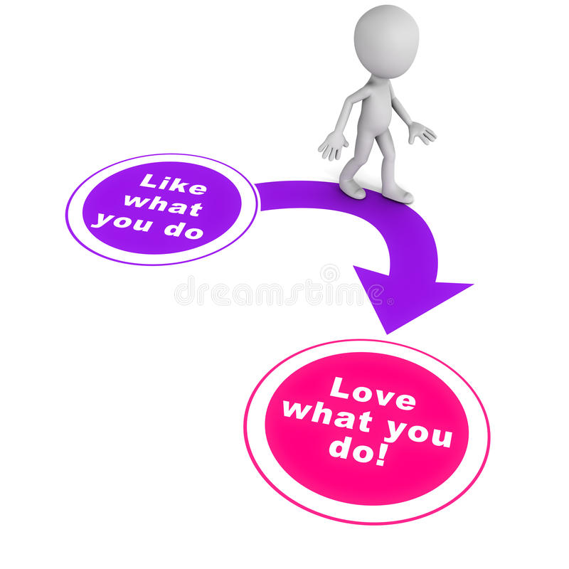 Love what you do. From liking to loving what you do, concept of doing what you love, with passion vector illustration