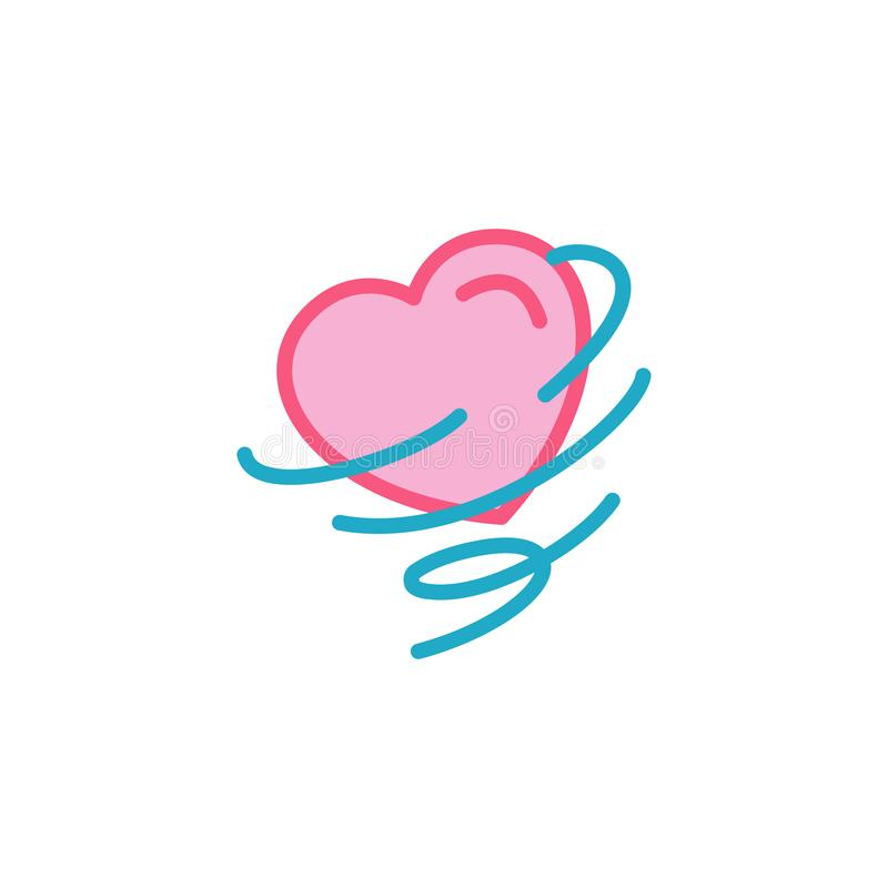 Love with wind storm, tornado Icon. Simple Heart Illustration Line Style Logo Template Design. royalty free illustration