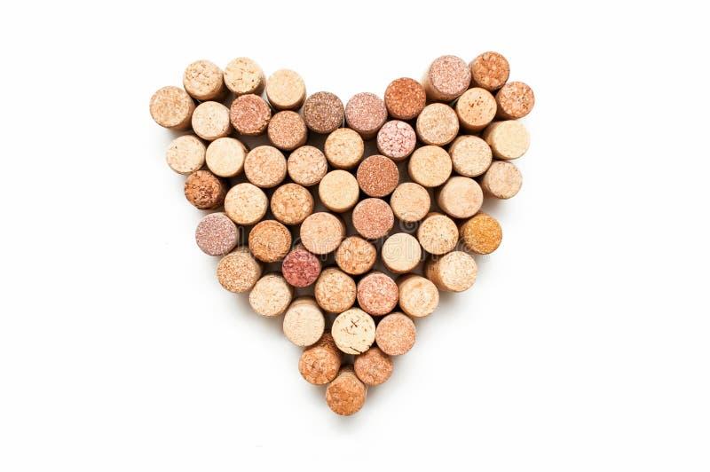 Love for wine. Wine cork heart symbol stock photos
