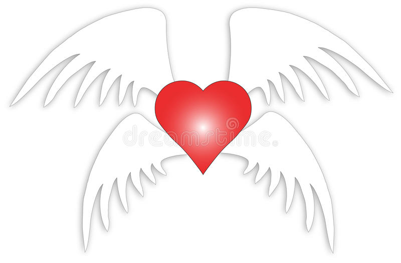 Love with wings. Vector illustration love with four wings royalty free illustration