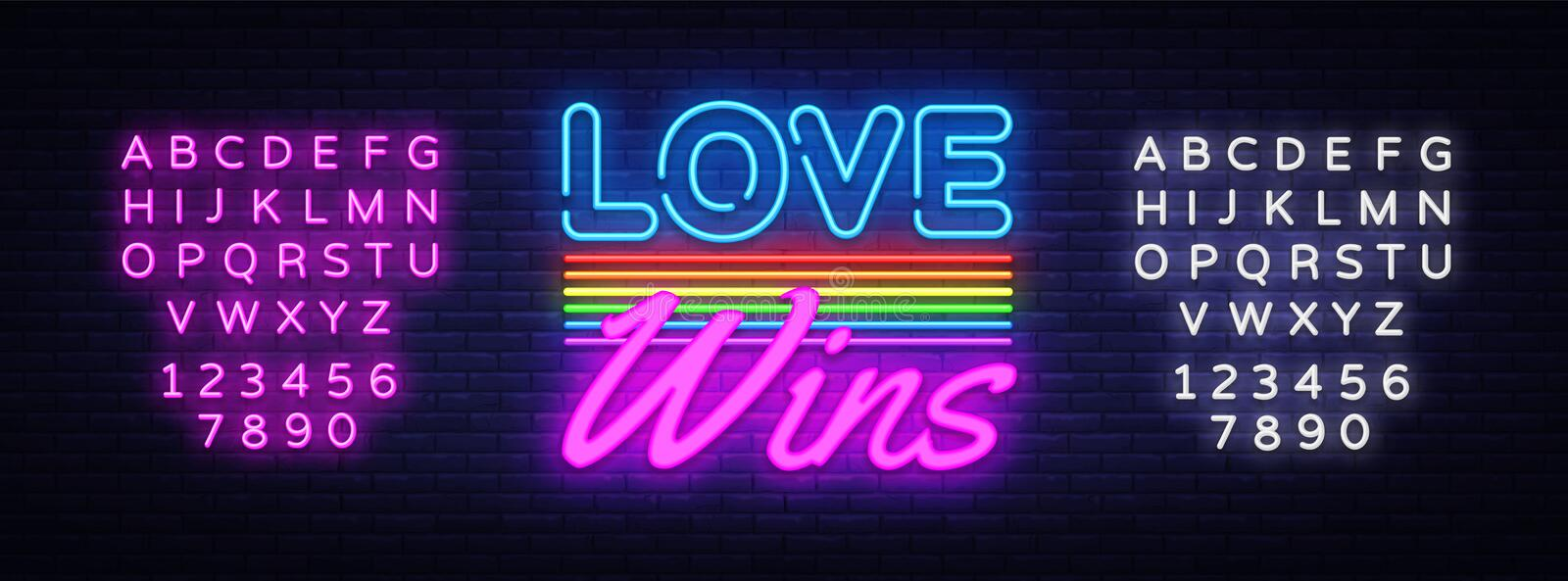 Love Wins Neon Text Vector. Love Wins neon sign, design template, modern trend design, night neon signboard, night. Bright advertising, light banner. Vector vector illustration