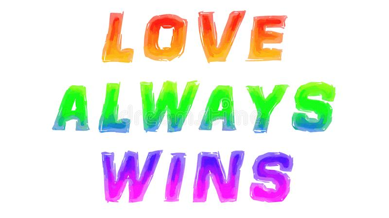 Love Always Wins Written with Watercolor royalty free stock photography