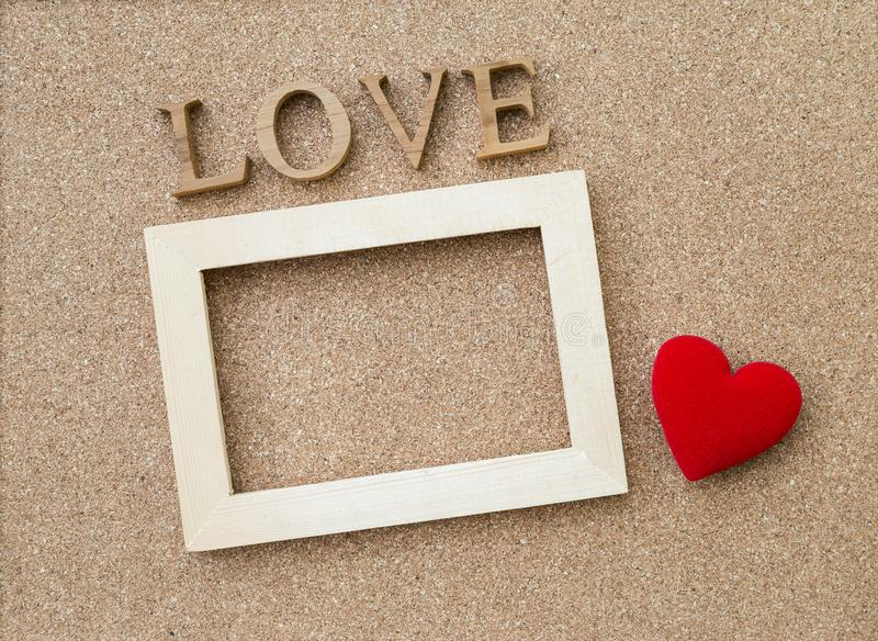 Love Wooden Text And Wooden Frame With Red Heart Stock Photo - Image ...