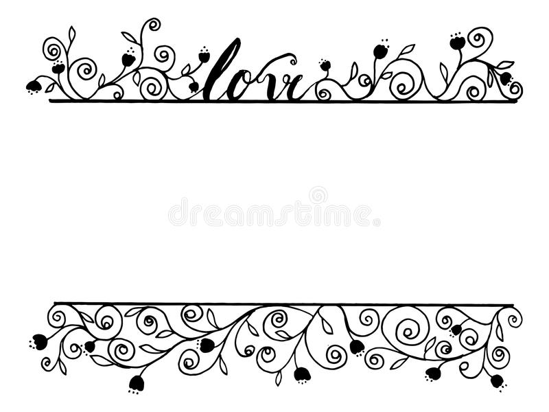 Love word calligraphy with flora line art by hand drawn