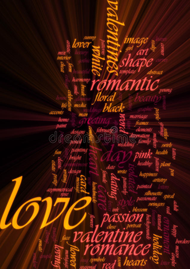 Love Word Cloud Glowing Royalty Free Stock Photos