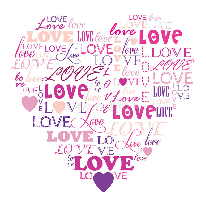 Download Love In Word Collage Composed In Heart Shape Stock Il Ration Il Ration Of Letter