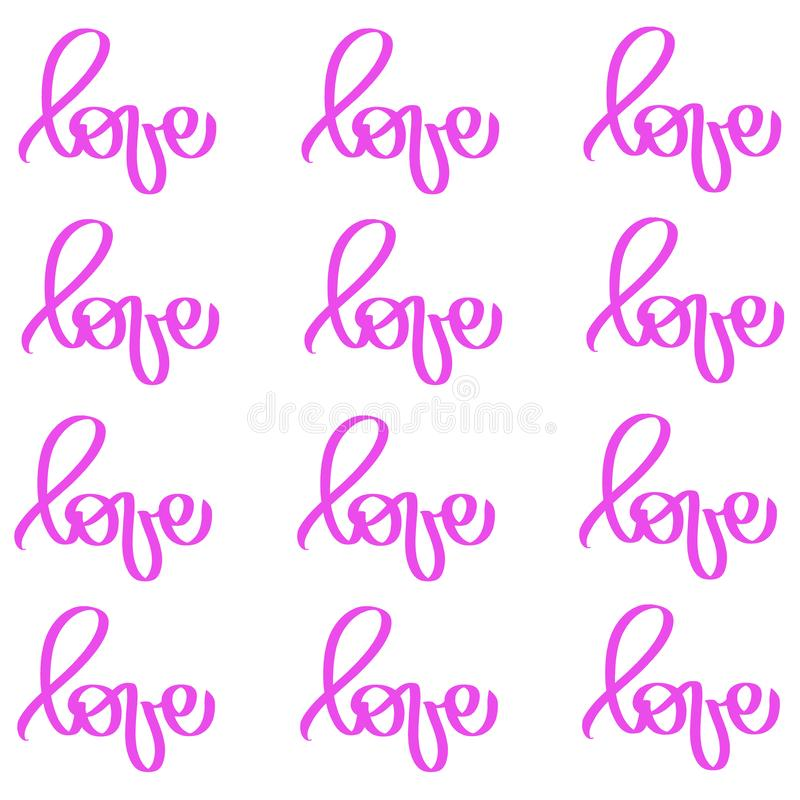 Love word forever pattern. Romantic symbol linked, join, passion and wedding. Template for tee shirt, card, poster. Design flat el stock illustration