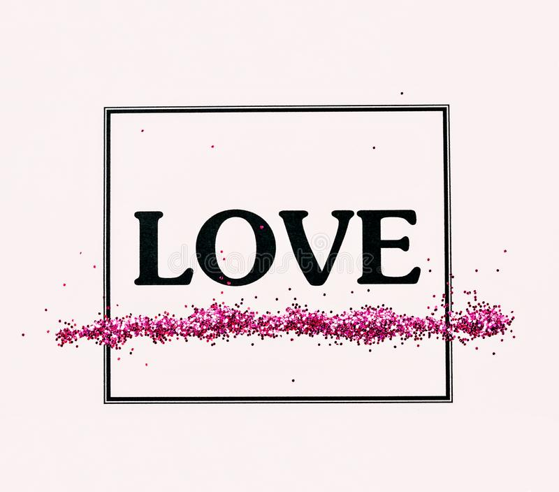 LOVE Word With Glitter In Frame. Stock Photo - Image of idea ...