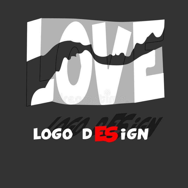 Love word hand drawn lettering. Grunge vector illustration. Text design for banner. Graphic Printed tee. Love grey. Love word hand drawn lettering. Grunge vector royalty free illustration