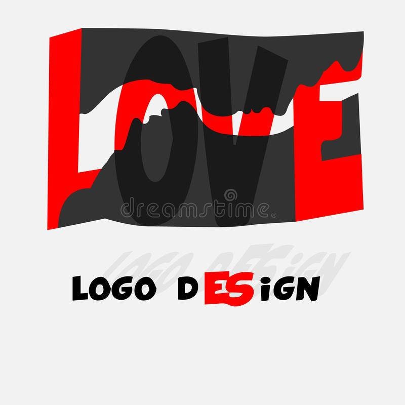 Love word hand drawn lettering. Grunge vector illustration. Text design for banner. Graphic Printed tee. Love white stock image