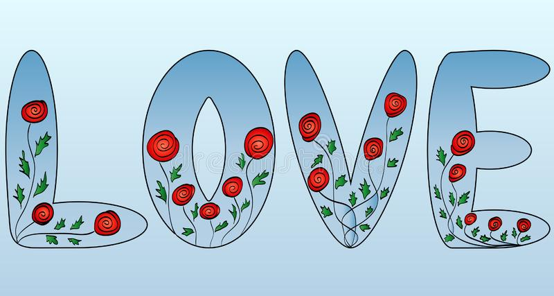 Love. The word is illustrated with flowers, letters vector illustration