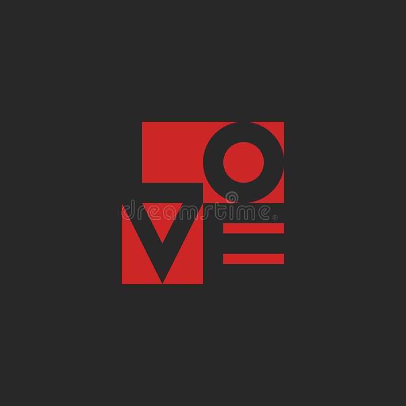 Love word, mockup print black and red graphic design for t-shirt or poster background. Love word, mockup lettering black and red graphic design for t-shirt print vector illustration