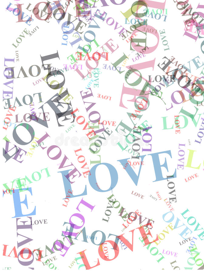Love words. Different love words over the white background stock images