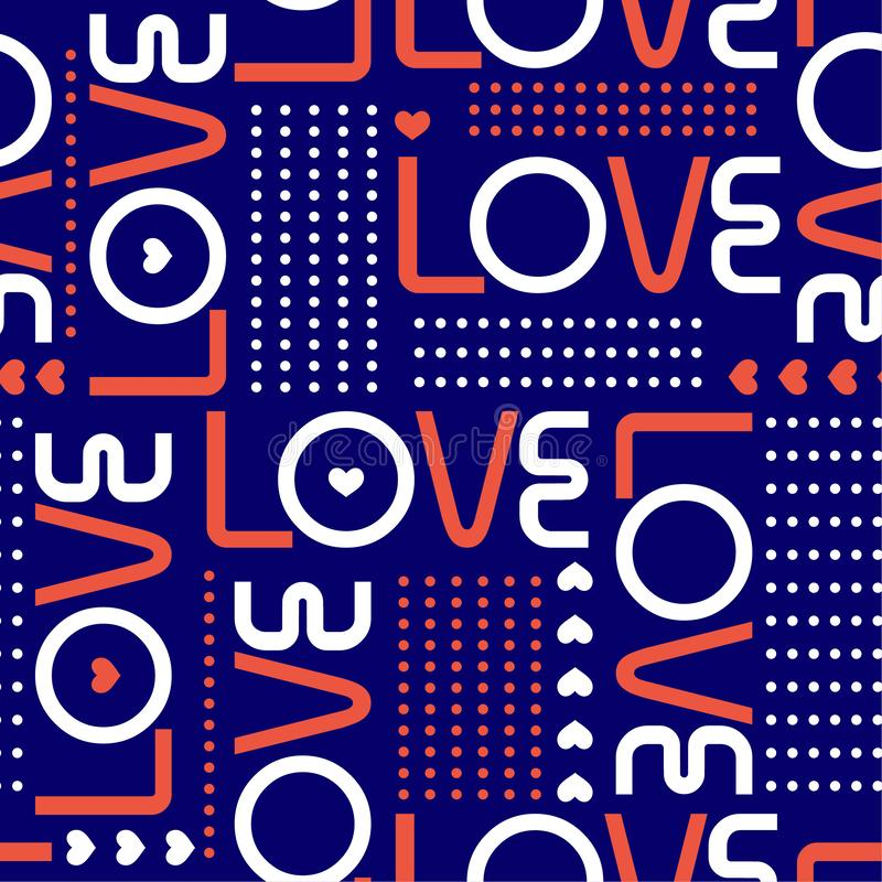 Love words, and mini hearts with line of circle polka dots in modren style valentines mood Seamless pattern design for fashion , vector illustration