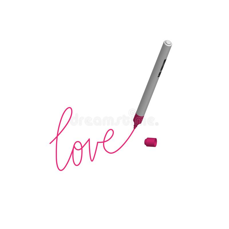 Love write with marker. Vector illustration royalty free illustration