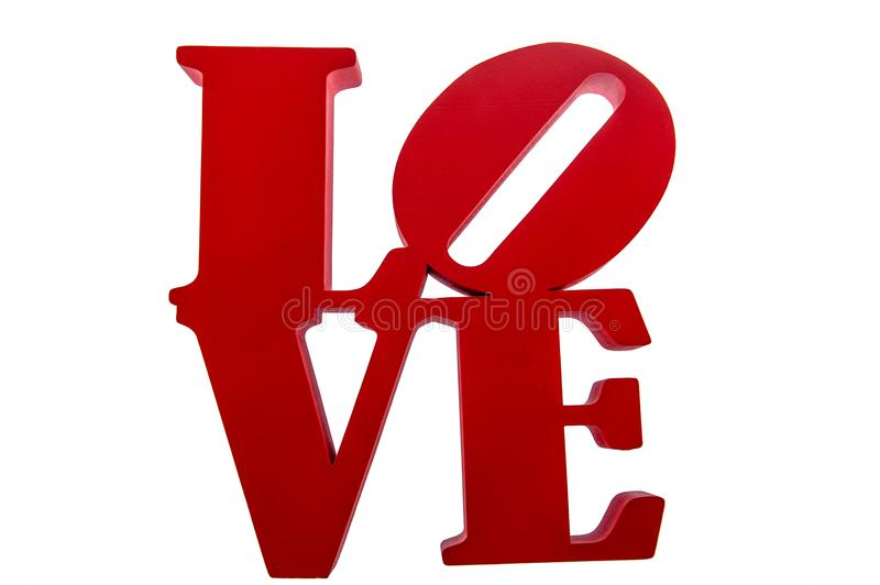 Love - red letters on white background stock images