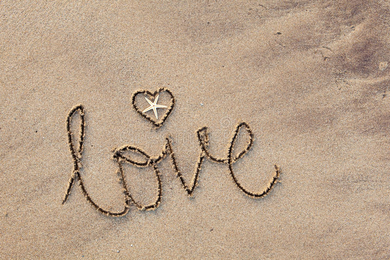 Download Love written in Sand stock photo. Image of shell, coastal - 13770708