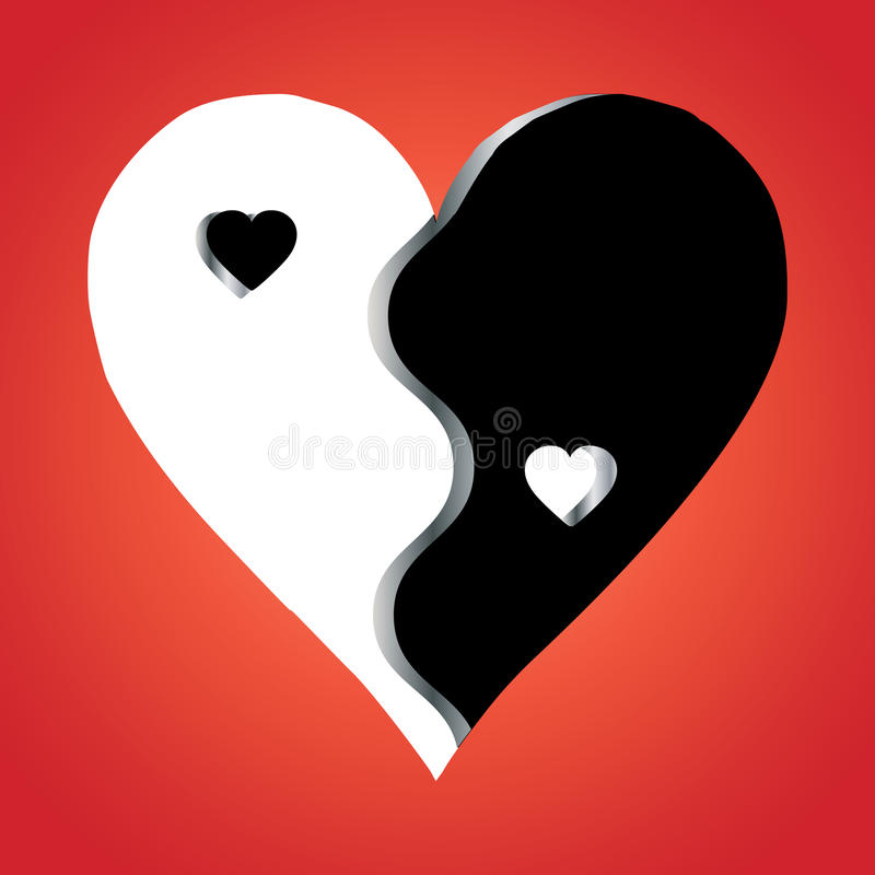 Love Yin Yang on red background royalty free illustration