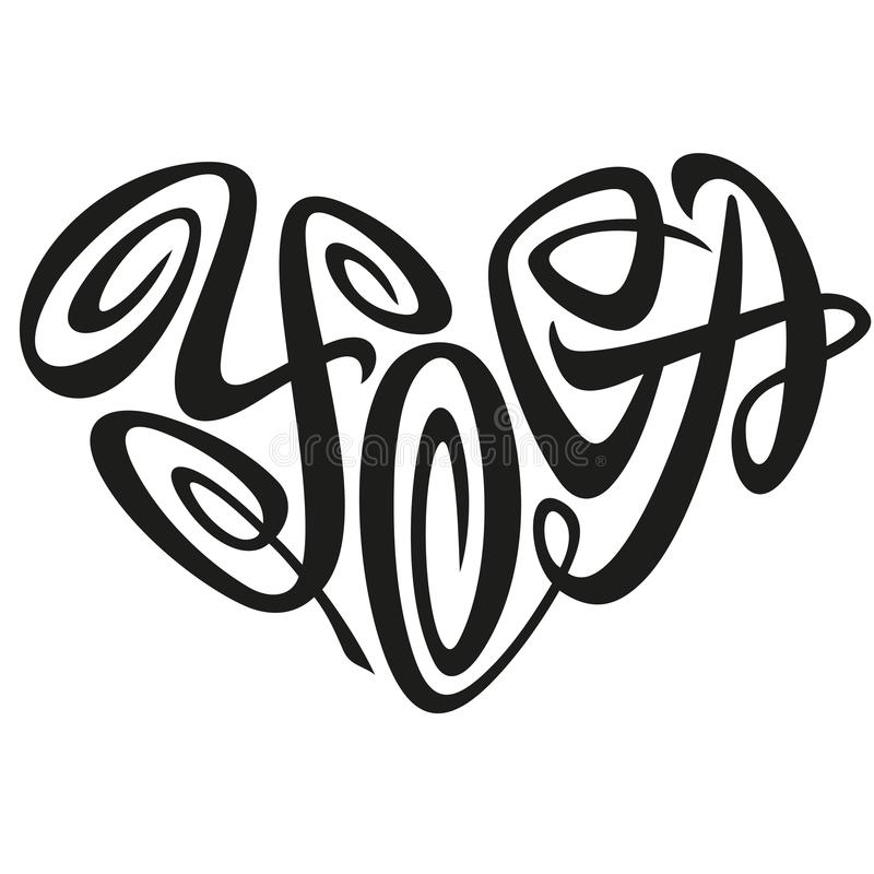 Love Yoga Word Lettering In The Shape Of Heart Emblem royalty free illustration