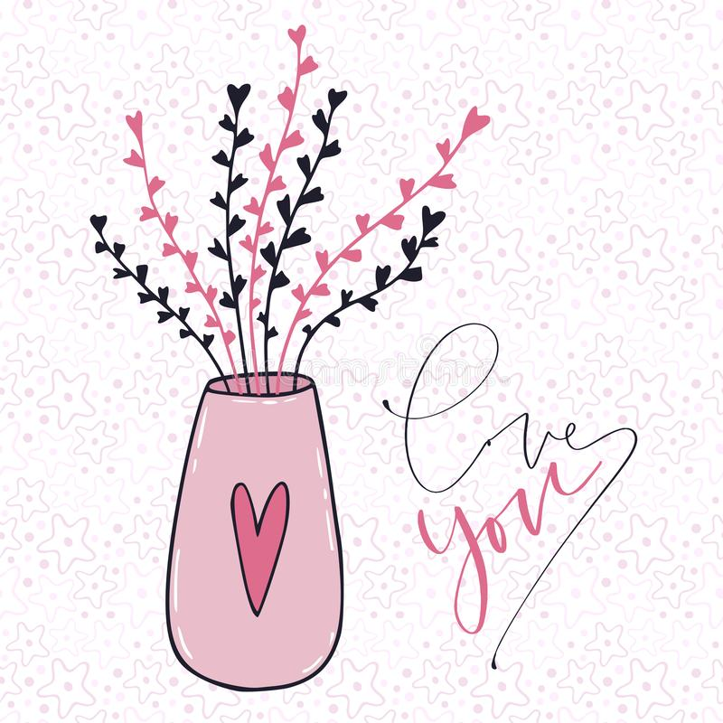 love you card cute flowers in vase greeting card with